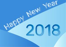 2018. Happy New Year and Two Thousand Eighteen on a blue. 2018. Happy New Year and Two Thousand Eighteen on a blue background. Vector illustration for greeting Royalty Free Stock Images