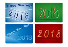 2018. Happy New Year and Two Thousand Eighteen card set. Vector illustration Royalty Free Stock Images