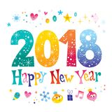2018 Happy New Year. Two thousand eighteen - greeting card Stock Photography