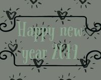 Happy new year two thousand and nineteen stock illustration