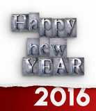 Happy New Year 2016 typescript and paper. 3D rendering of the words Happy New Year in  vintage typescript and 2016 written under a torn paper Stock Photos