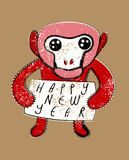 Happy New Year! Typographic Christmas greeting card design with monkey. Grunge vector illustration. Stock Photos