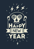 Happy New Year! Typographic Christmas greeting card design with monkey. Vector illustration. Stock Photo