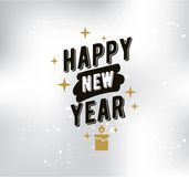 Happy New Year typographic design. Happy New Year 2017 text design. logo, typography. Usable as banner, greeting card, gift package etc Stock Images
