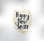 Happy New Year typographic design. Happy New Year 2017 text design. logo, typography. Usable as banner, greeting card, gift package etc Stock Photography