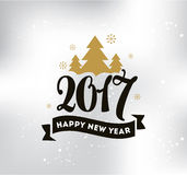 Happy New Year typographic design. Happy New Year 2017 text design. logo, typography. Usable as banner, greeting card, gift package etc Stock Image