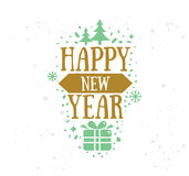 Happy New Year typographic design. Happy New Year 2017 text design. Vector logo, typography. Usable as banner, greeting card, gift package etc Stock Image