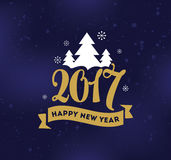 Happy New Year typographic design. Happy New Year 2017 text design. Vector logo, typography. Usable as banner, greeting card, gift package etc Royalty Free Stock Photos