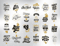 Happy New Year typographic emblems set. Happy New Year 2017 typographic emblems set. logo, text design. Black, white and gold. Usable for banners, greeting Royalty Free Stock Images