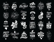 Happy New Year typographic emblems set. Happy New Year 2017 typographic emblems set. Vector logo design. Black and white. Usable for banners, greeting cards stock illustration