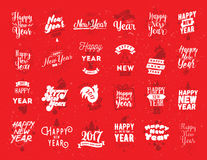 Happy New Year typographic emblems set. Royalty Free Stock Photo
