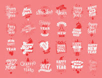 Happy New Year typographic emblems set. Happy New Year 2017 typographic emblems set. Vector logo design. Black and white. Usable for banners, greeting cards royalty free illustration