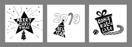 Happy New Year typographic poster set. Vector logo, text design. Black and white. Can be used as a children`s room decoration. Vector Illustration vector illustration