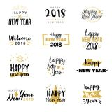 Happy New Year 2018 typographical design set. Black white and gold logo elements. Vector inscriptions. Useful for greeting cards, t-shirt print, flyers Royalty Free Stock Photos