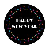 Happy new year typography with colorful confetti. On black circle  graphic Royalty Free Stock Photography