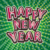 Happy new year typography designs on bokeh green background Royalty Free Stock Photos