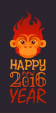 Happy new year 2016. Typography with fire monkey head.Vector illustration in flat style Stock Photo