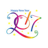 Happy New Year 2017 typography. Greeting card design with hand lettering inscription stock illustration