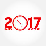 Happy New Year 2017. Typography greeting, invitation card with clock and text 2017 - stock vector Stock Image