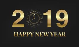 Happy New Year 2019. Typography label 2019 with gold clock, meaning one minute before New Year.  vector illustration