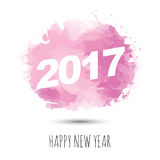 Happy new year 2017. Typography 2017 on pink watercolor background, minimal  illustration design Royalty Free Stock Images