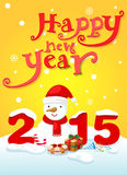Happy new year typography and snowman Royalty Free Stock Photo
