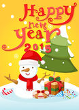 Happy new year typography and snowman landscape Stock Images