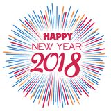 Happy new year 2018 with typography text on firework background.  Royalty Free Stock Photos