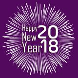 Happy new year 2018 with typography text on firework background.  Stock Photography