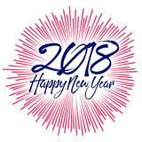Happy new year 2018 with typography text on firework background.  Royalty Free Stock Image