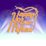 Happy new year 2018 with typography text on firework background.  Royalty Free Stock Photography