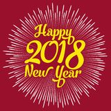 Happy new year 2018 with typography text on firework background.  Stock Photo