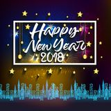 Happy new year 2018 with typography text on firework background.  Stock Images