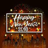 Happy new year 2018 with typography text on firework background.  Royalty Free Stock Photo