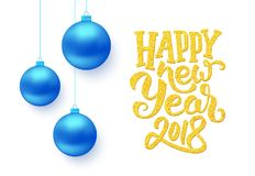 Happy New Year typography on vector card. Happy New Year 2018 gold typographic text isolated on white background with blue Christmas balls. Vector illustration Royalty Free Stock Images