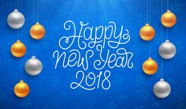 Happy New Year typography on vector card. Happy New Year typographic text on blue background with sparkles and colorful hanging balls. Vector illustration for Stock Images