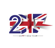 Happy new year 2017 with U.K Flag Pattern. Text Vector Design Background Stock Photos