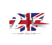 Happy new year 2017 with U.K Flag Pattern. Text Vector Design Background Royalty Free Stock Image