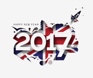 Happy new year 2017 with U.K Flag Pattern. Text Vector Design Background Stock Image