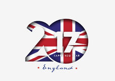 Happy new year 2017 with U.K Flag Pattern. Text Vector Design Background Royalty Free Stock Images