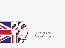Happy new year 2017 with U.K Flag Pattern. Text Vector Design Background Stock Photography
