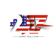 Happy new year 2017 with U.S.A Flag Pattern. Text Vector Design Background Stock Photography