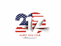 Happy new year 2017 with U.S.A Flag Pattern Text. Vector Design Background Stock Photos