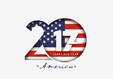Happy new year 2017 with U.S.A Flag Pattern. Text Vector Design Background Stock Images