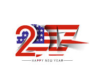 Happy new year 2017 with U. S. A Flag Pattern. Text Vector Design Background Royalty Free Illustration