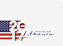 Happy new year 2017 with U.S.A Flag Pattern. Text Vector Design Background Stock Illustration