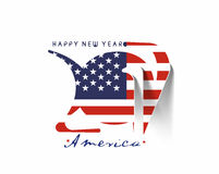 Happy new year 2017 with U.S.A Flag Pattern. Text Vector Design Background Vector Illustration