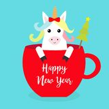 Happy New Year. Unicorn horse sitting in red coffee cup teacup. Fir tree. Red bow. Merry Christmas. Face and hands. Cute cartoon. Character. Hello winter Blue stock illustration