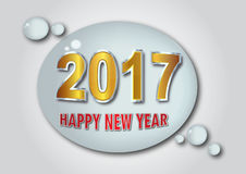 Happy New Year 2017 - unique aqua and gold Effect. Vector Illustration Stock Photos