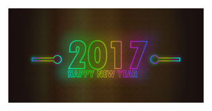 Happy New Year 2017 with unique light neon Effect. Happy New Year 2017 , unique light neon Effect -  Vector Illustration Royalty Free Stock Photos